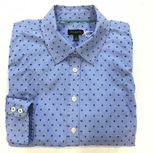 Talbots Blue Gingham and Polka Dot Button Down